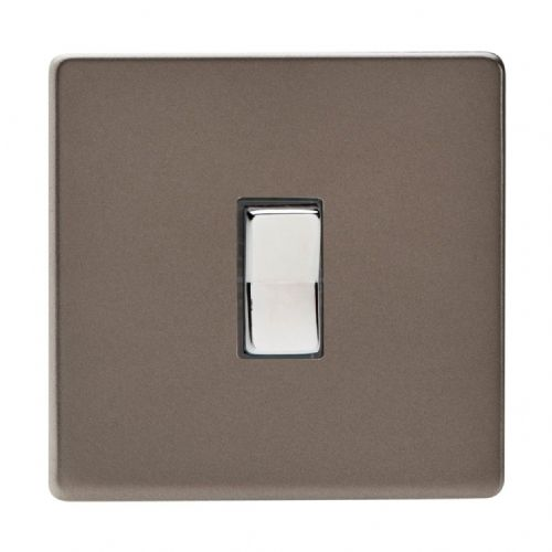 Varilight XDRR1S Screwless Pewter 1 Gang 10A 1 or 2 Way Retractive Light Switch